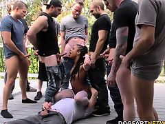 Kira Noir Gags And Chokes On White Dongs