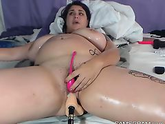 Horny Bbw Toying Her Fabulous Puncture